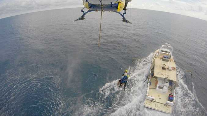 RACQ CQ Rescue winched a seriously injured fisherman from a trawler 150km offshore on Saturday.