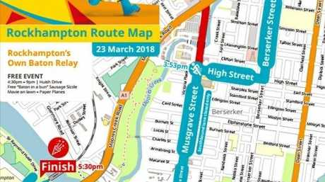 The relay route for Rockhampton.