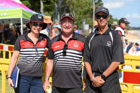 Queensland School Sports State Triathlon - officials and volunteers. Wide Bay officials Orinda Martin, Justin Lane and Andrew Martin.