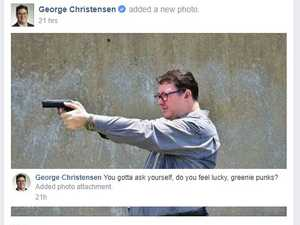 George Christensen reacts to greens, gun post