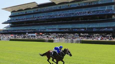 One horse town: Hugh Bowman pilots Winx to win her barrier trial on Apollo Stakes Day. Picture: Getty Images