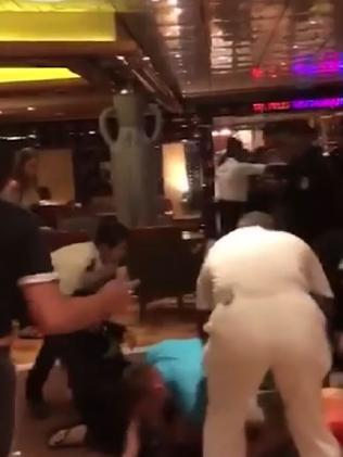 Footage from the Carnival Legend appears to show a brawl involving a number of people. Picture: 3AW