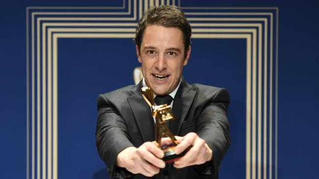 Samuel Johnson with the Best Actor award at the 2018 Logies. Picture: AAP Image/Tracey Nearmy