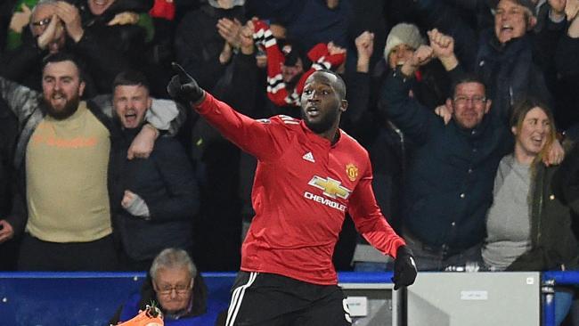 Manchester United's Belgian striker Romelu Lukaku celebrates