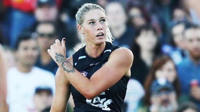 Carlton AFLW star Tayla Harris is also a talented boxer. Picture: Getty Images