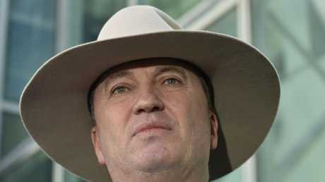 Barnaby Joyce speaks to the press on February 16 in Canberra. Picture: Getty