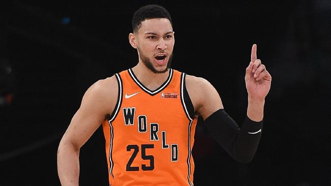 LOS ANGELES, CA - FEBRUARY 16: Ben Simmons #25 of the World Team reacts during the 2018 Mountain Dew Kickstart Rising Stars Game at Staples Center on February 16, 2018 in Los Angeles, California. Kevork Djansezian/Getty Images/AFP == FOR NEWSPAPERS, INTERNET, TELCOS & TELEVISION USE ONLY ==