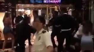 A group of men can be seen fighting in the footage captured on board the Carnival Legend. Picture: 3AW