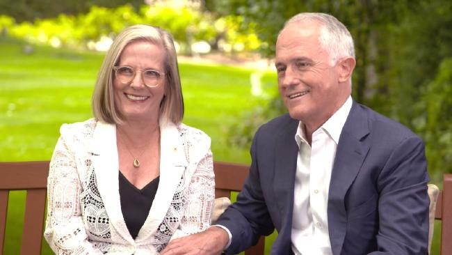 Prime Minister Malcolm Turnbull and wife Lucy who backs his move to change standards of conduct for senior ministers. Picture: Channel 9