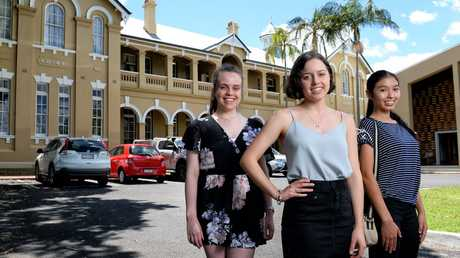 Ipswich Girls' Grammar School students Nicki Anthony, Majella Cassidy and Michiru Encinas were anxiously awaiting their OP results late last year.