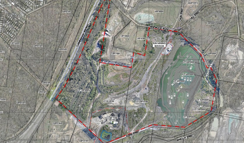 A map showing the area relevant to BMI Group's latest application with Ipswich city Council to establish a new waste facility. Source: PD Online