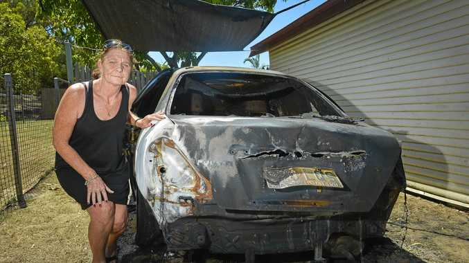 BURNT OUT: Sharon Lord's car was destroyed in a suspected arson attack on Oaka St in Gladstone, the second in a week.