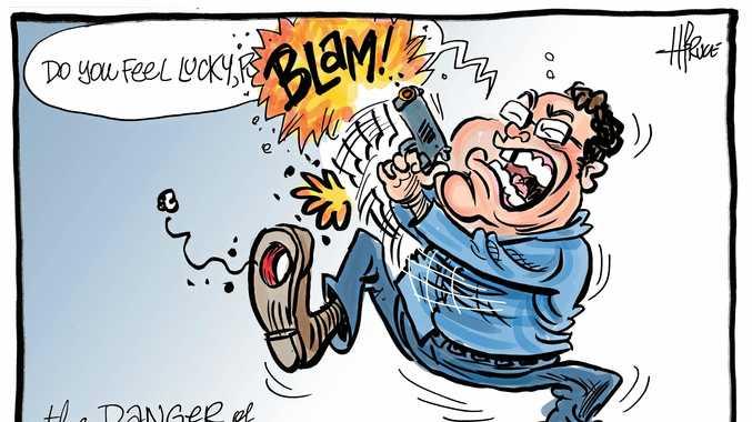 harry bruce cartoon George Christensen guns