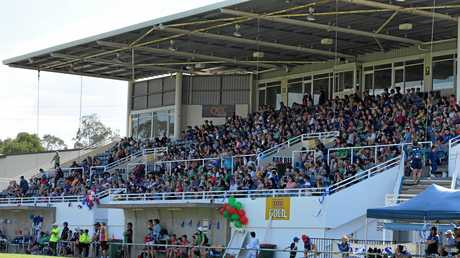 Gladstone Junior Rugby League 2017 grand final day - Marley Brown Oval grandstand full of colour and packed to capacity.