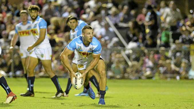 Karl Lawton of Gold Coast Titans against Brisbane Broncos in NRL pre-season trial at Clive Berghofer Stadium, Saturday, February 17, 2018.