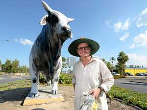 Artist Bill Gannon with the bull on Yaamba Road which he recently re-painted.