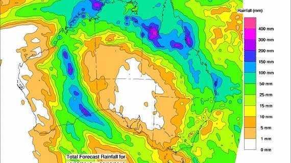 The 8-day forecast rainfall for Australia.