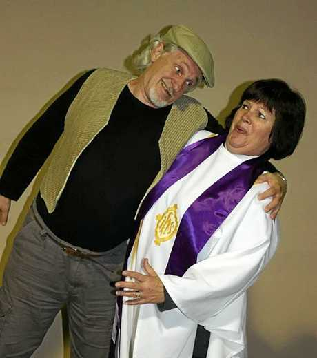 Peter Hume as Owen and Lesley Larson as the Vicar in  The Vicar of Dibley.