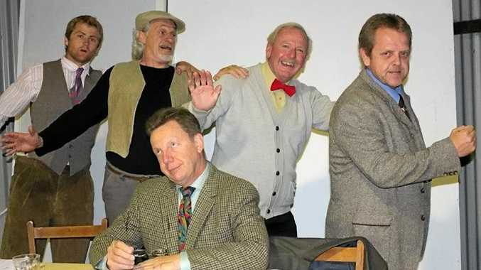 ON STAGE: Will Manley as Hugo, Peter Hume as Owen, Sam Steen as Frank, David Thomas as Jim and Brian Meldrum as David in Murwillumbah Theatre Company's production of The Vicar of Dibley.