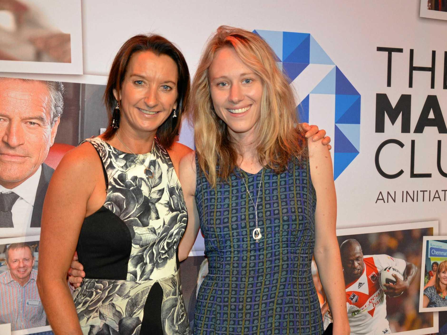 Daily Mercury editor Rowan Hunnam with Layne Beachley at Mackay Club's 'Tackle the Greatest Wave' at the MECC.