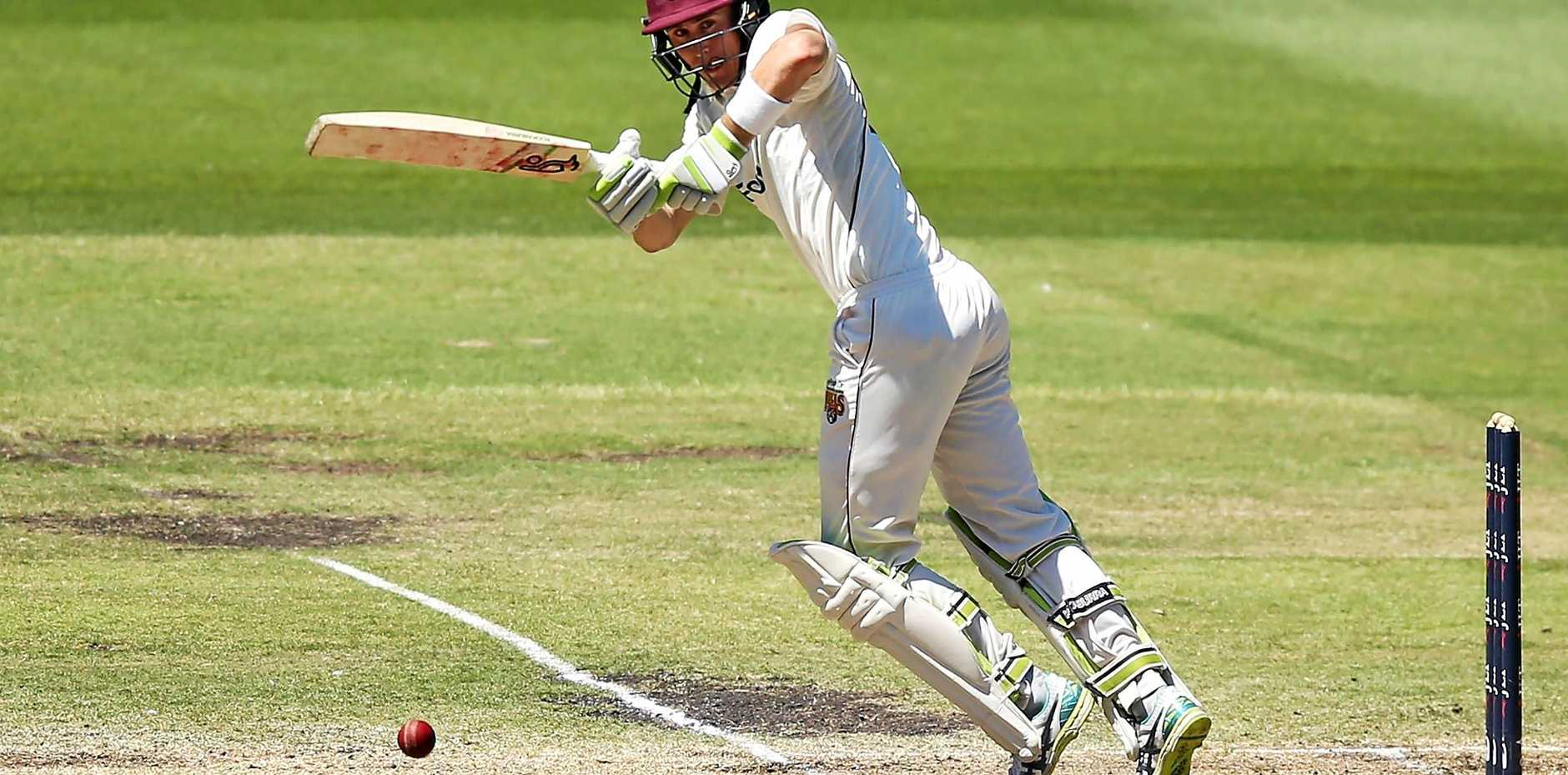 Marnus Labuschagne of Queensland on his way to 100 not out on day four at the MCG.