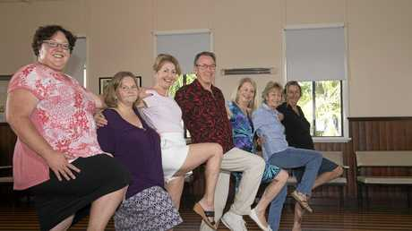 Peter Leroy (Centre, wearing red shirt) is teaching people to dance to Tina Turner's song the Nutbush, to help improve fitness levels. (Pictured from L-R Lisa Burges, Judy Lord, Eva Canning, Peter Leroy, Rhondda Davidson, Lori Goodwin and Maree Bradbury)
