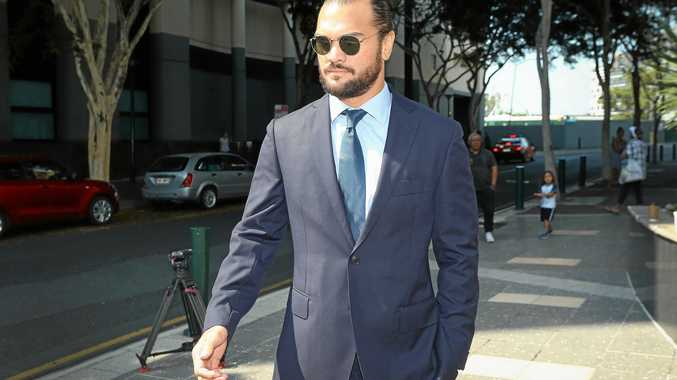 Rugby union player Karmichael Hunt leaves the Magistrates Court in Brisbane on Monday, February 19, 2018.