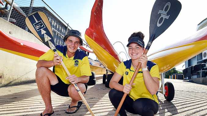 TAHITI BOUND: Hervey Bay siblings Curtis and Amy Easton raising funds to represent Australia at the World Outrigging Titles in July.