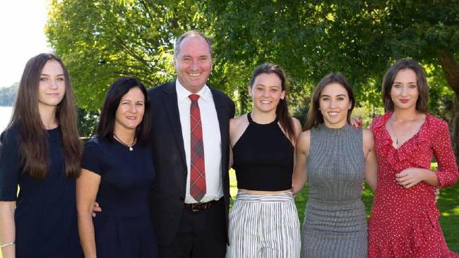 Barnaby Joyce with his wife Natalie and daughters Odette, Caroline, Julia and Bridgette.