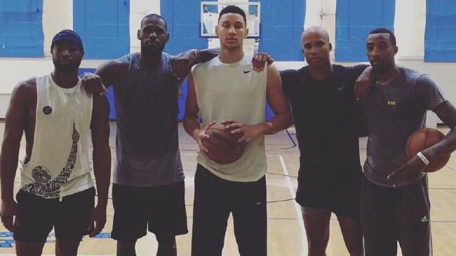 LeBron James (second from left) and Ben Simmons (centre) train together in the offseason.