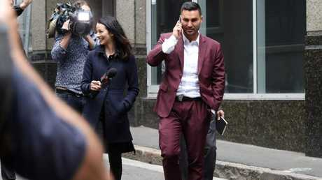 Salim Mehajer and Laura Banks pictured outside court.