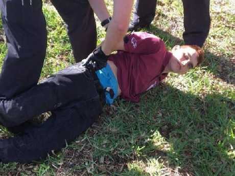 Nikolas Cruz is arrested after the shooting. Picture: Supplied