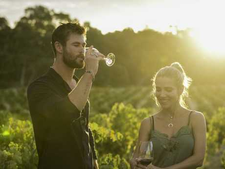 Chris Hemsworth and Elsa Pataky in South Australia's Barossa Valley after filming of Tourism Australia's spoof Dundee Movie ad. Picture: Cristian Prieto