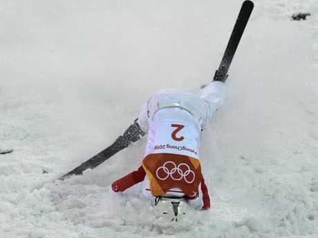 China's Jia Zongyang finishes his landing during the Men's Aerial Skiing final. He scored 118.55. Photo: Martin Bureau/AFP