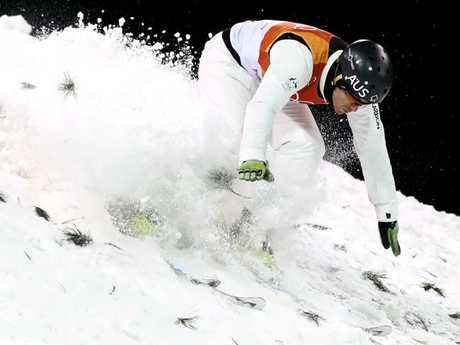 David Morris lands. He scored 111.95, finishing tenth of 12, one spot away from advancing in the final. (Photo by Cameron Spencer/Getty Images)