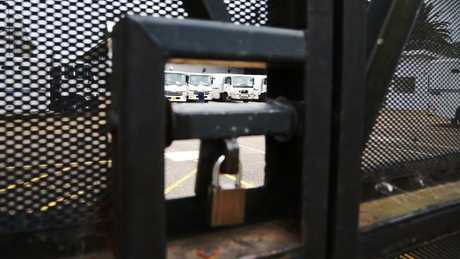 Prison trucks drive into the holding cell area before picking up prisoners and transferring them to either court or another prison. Picture: Adam Taylor