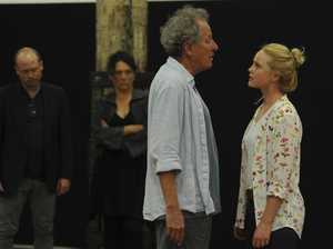 Geoffrey Rush and Eryn Jean Norvill rehearse for the Sydney Theatre Company's production of King Lear.