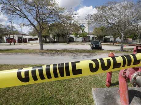 Crime scene tape around Marjory Stoneman Douglas High School in Florida. Picture: AP/Gerald Herbert