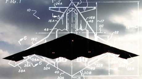 A next-generation stealth concept design is superimposed over a photograph of the US Air Force's B-2