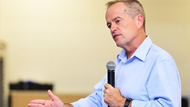 Labor opposition leader Bill Shorten spoke at a town hall meeting at Currajong state school. Picture: Zak Simmonds