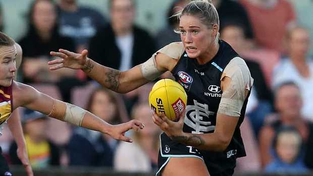 Tayla Harris has been offered a one-match ban for striking. Picture: Michael Klein