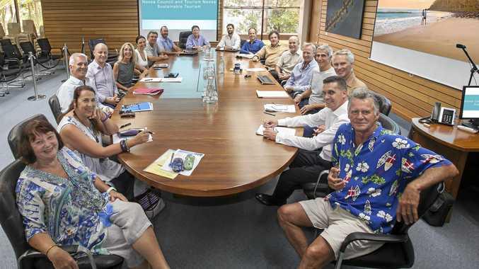 TALK TACTICS: Mayor Tony Wellington, CEO Brett de Chastel and councillors meet with Tourism Noosa board directors and CEO Damien Massingham.
