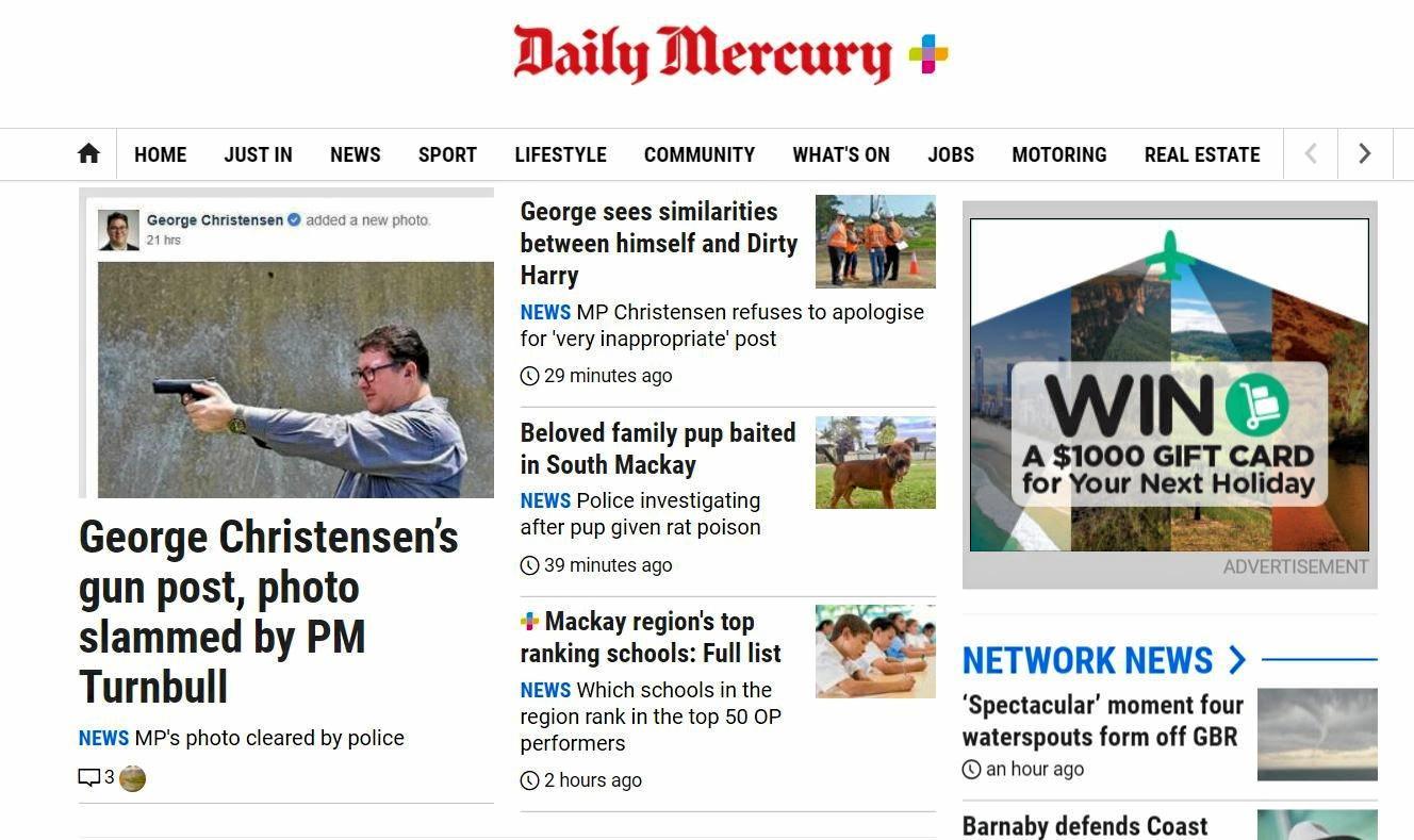 The new-look Mackay Daily Mercury website.