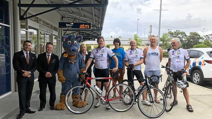 SADDLE UP: Cowper MP Luke Hartsuker about to set off on his annual charity bike ride to Port Macquarie.