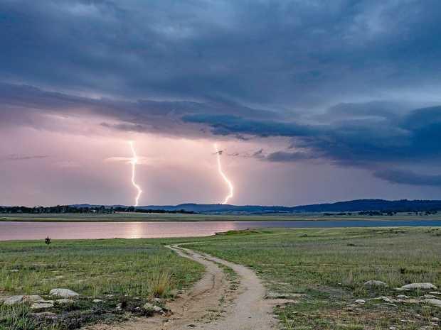 A double lightning strike captured at Leslie Dam.