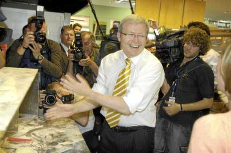 Opposition Leader Kevin Rudd at the height of his Kevin07 popularity. Apparently the name did not please the then PM.