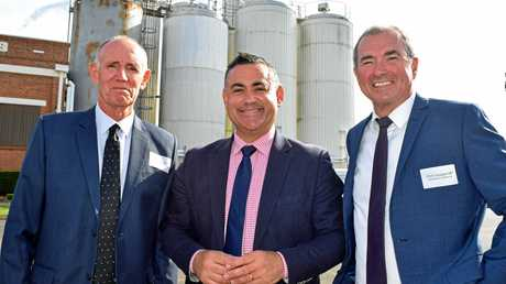 Richmond Valley mayor Robert Mustow, State Deputy Premier John Barilaro and Chris Gulaptis MP at the launch of the NSW Investment Prospectus website at Richmond Dairies in Casino.