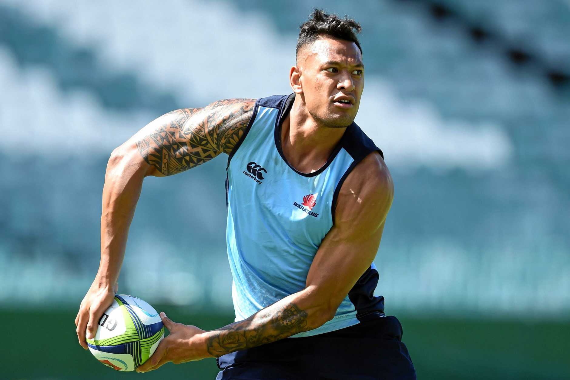 Israel Folau joins in a Waratahs training session.