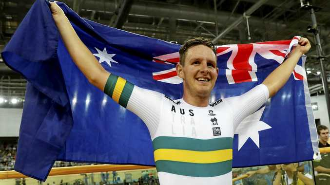 Australia's Jordan Kerby celebrates after winning the men's individual pursuit final at the World Track Cycling championships in Hong Kong, Friday, April 14, 2017. (AP Photo/Kin Cheung)
