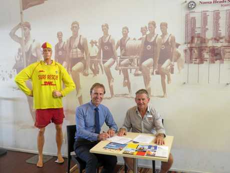 Tom Offermann (L) with Noosa Surf Club president Ross Fisher